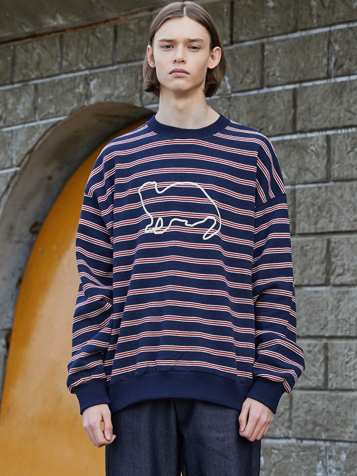 Stripe Knit Sweat shirts NAVY